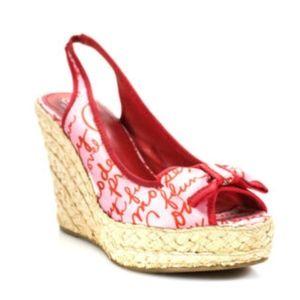 COACH Grace Platform Wedge Sandals w/Bow Size 9.5